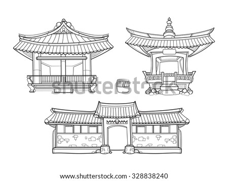 Hanok Korean traditional architecture vector outline set. Palace house, architecture asia village culture, asian home illustration