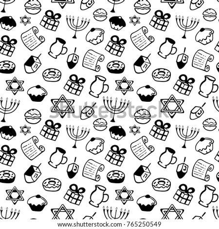 Hanukkah. A set of traditional attributes of the menorah, dreidel, candles, olive oil, Torah, donuts in a doodle style. Seamless Pattern