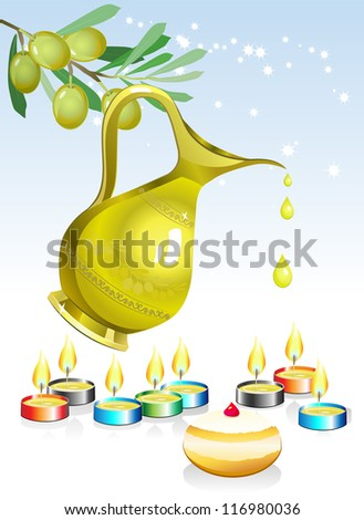 hanukkah background with candles, oil and olive tree