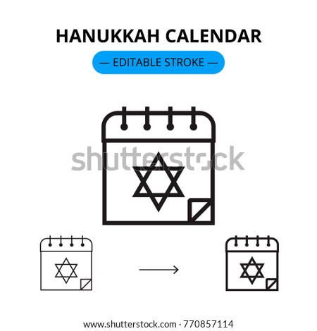 Hanukkah calendar vector line icon with editable stroke
