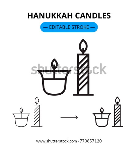 Hanukkah candles vector line icon with editable stroke