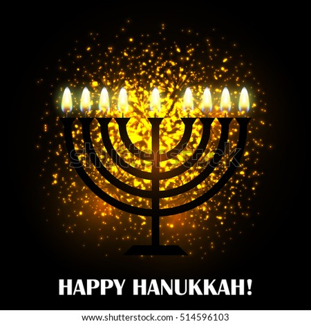 Hanukkah greeting card with menorah (traditional Candelabra). Happy Hanukkah, Jewish holiday background. Vector Hanukkah background with menorah