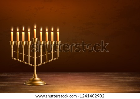 Hanukkah jewish holiday background with realistic golden menorah candelabrum with candles on wooden table backdrop. Israel traditional hebrew celebration invitation design. Vector illustration Сток-фото ©