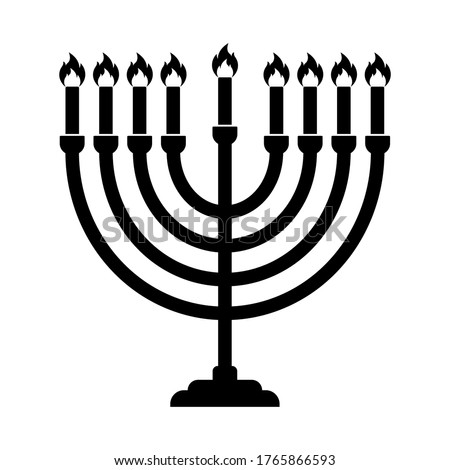 Hanukkah menorah candelabrum with nine lit candles flat vector icon isolated on white background Stockfoto ©