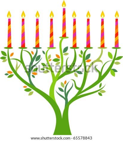 Hanukkah menorah tree with candles - stock vector