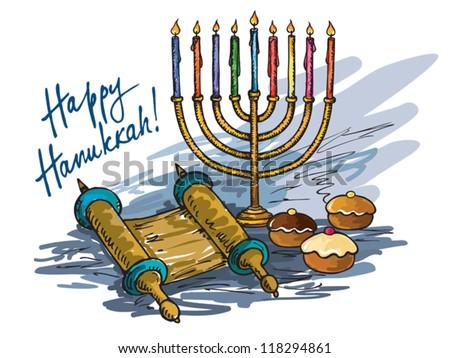 Hanukkah menorah with  candle and  doughnut