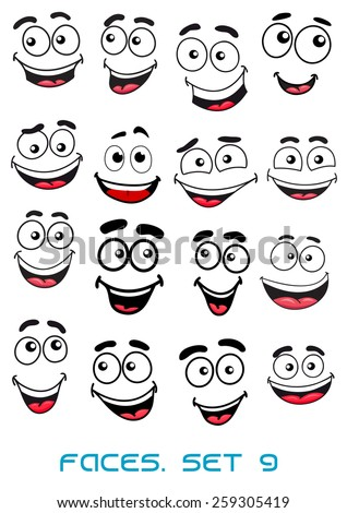 Happiness and smiling people faces with good emotions for any character design #259305419