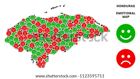 Happiness and sorrow Honduras map mosaic of emojis in green and red colors. Positive and negative mood vector template. Honduras map is composed from red sorrow and green happy icons.