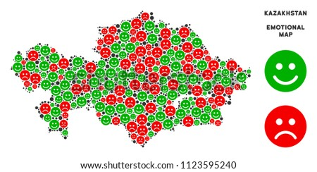 Happiness and sorrow Kazakhstan map collage of emojis in green and red colors. Positive and negative mood vector concept. Kazakhstan map is made from red sorrow and green positive emotion symbols.