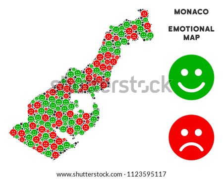 Happiness and sorrow Monaco map collage of smileys in green and red colors. Positive and negative mood vector concept. Monaco map is designed with red sorrow and green happy emotion symbols.