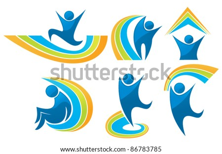 happiness and success vector collection of icon, symbols and emblems