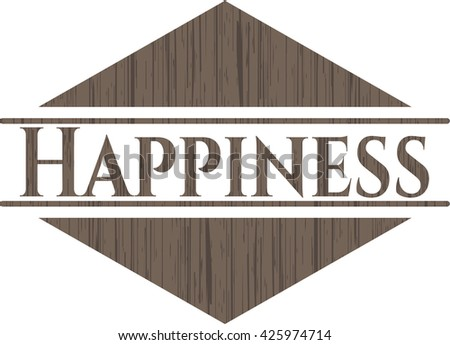 Happiness badge with wooden background