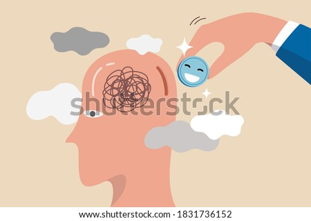 Happiness cure work stressed, care for mental health or relax from tired work concept, businessman holding pink coin with happiness face to insert into depressed thinking head to cure from stressed.