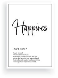 Happiness definition, Minimalist Wording Design, Wall Decor, Wall Decals Vector, Happiness noun description, Wordings Design, Lettering Design, Art Decor, Poster Design isolated on white background