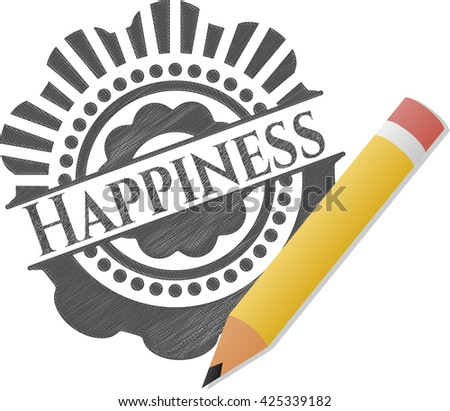 Happiness emblem with pencil effect
