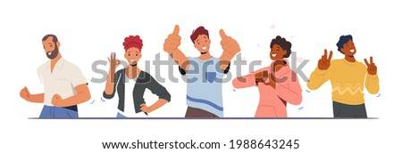 Happiness Emotions, Body Language. People Showing Positive Gestures. Happy Male and Female Characters Show Thumb Up, Ok Symbol, Victory, Yeah and Heart Gesturing. Cartoon People Vector Illustration