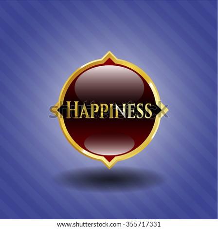 Happiness golden emblem