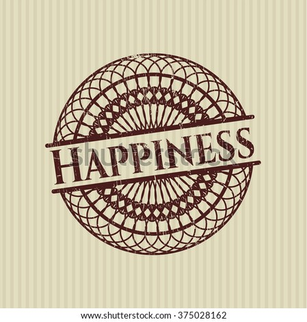Happiness grunge style stamp