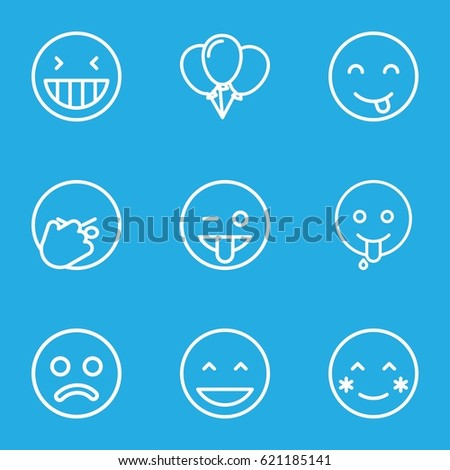 happiness icons set set of 9