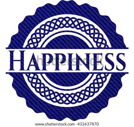 Happiness jean or denim emblem or badge background