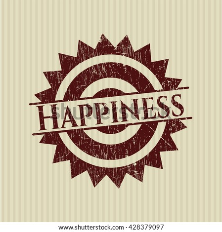 Happiness rubber grunge seal