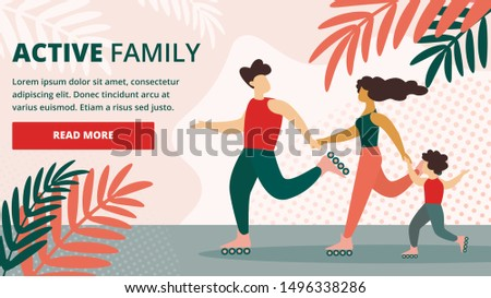 Happy Active Family Healthy Lifestyle, Outdoors Sport Activity. Father, Mother and Kid Skate Rollers, Exercising, Morning Track, Fitness Training, Cartoon Flat Vector Illustration, Horizontal Banner