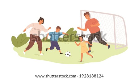 Happy active family playing football or soccer outdoors. Kids and parents spending time together in summer. Colored flat vector illustration of sports game isolated on white background Foto stock ©