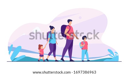 happy active family walking