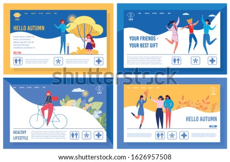 Happy, Active Lifestyle Landing Page Templates Set. Fall Season Activities Website Page Concept with Cartoon Characters. Autumn mood, Friendship and Outdoor Sport Web Banners Layouts Pack