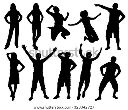 Happy active people silhouettes. Jumping people. Black and white vector collection.