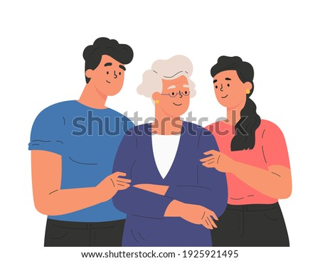 Happy adult children hugging old mother feeling love to each other. Portrait of young people hugging their grandma. Friendly family relationship. Cartoon vector flat illustration on white background.  Stockfoto ©