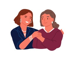 Happy adult daughter hugging old mother feeling love to each other vector flat illustration. Friendly family relationship isolated. Smiling trendy woman embracing aged female having positive emotion