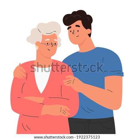 Happy adult son hugging old mother feeling love to each other. Portrait of young man hugging his grandma. Friendly family relationship. Cartoon vector flat illustration on white background.