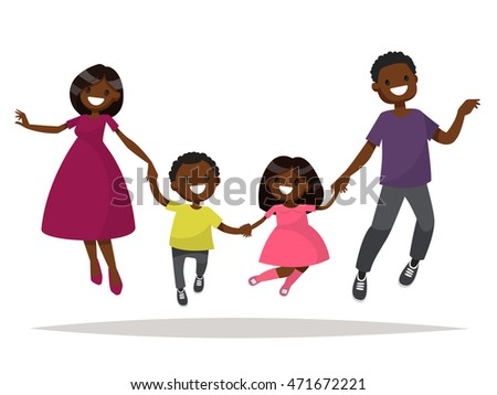 Happy African-American family is jumping. Dad mom daughter and son holding hands jumped. Vector illustration of a flat design