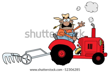 Happy African American Farmer Driving A Red Tractor