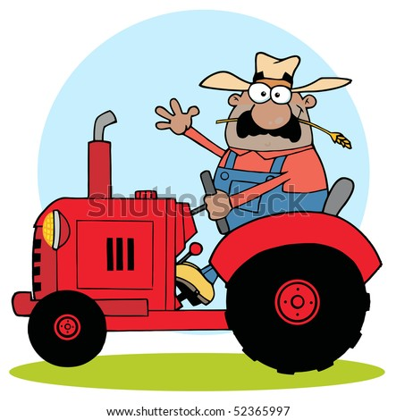 Happy African American Farmer In Red Tractor  Waving A Greeting