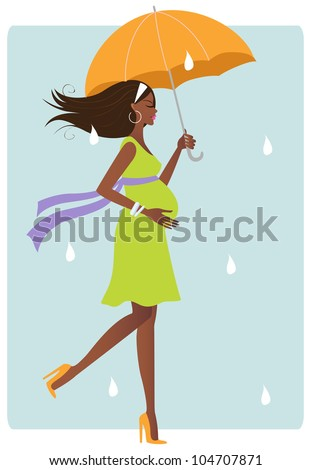 Happy african american pregnant woman with umbrella