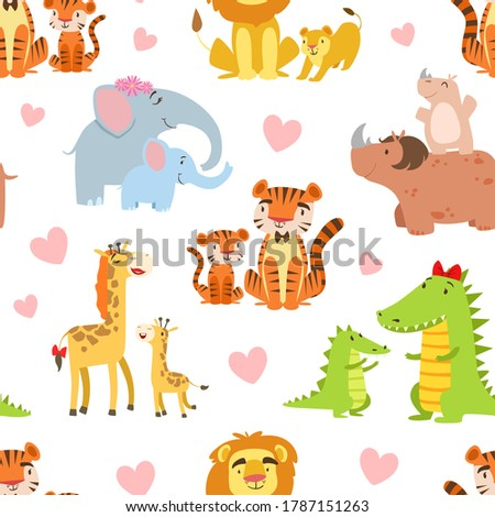 happy african animals family