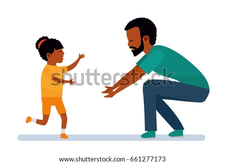 Happy African family. Family leisure. The girl laughs and runs into the arms of the father. African American people. Vector illustration in a flat cartoon style