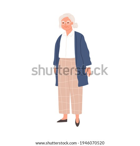 Happy aged gray-haired woman in eyewear and stylish casual clothes. Smiling senior granny in modern outfit. Colored flat vector illustration of retired female character isolated on white background