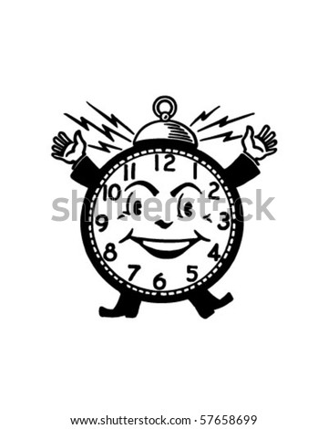Happy Alarm Clock - Retro Clip Art