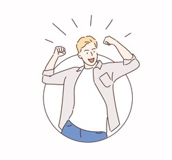 Happy and excited young business man celebrating victory expressing success, power, energy and positive emotions.  Hand drawn style vector design illustrations.