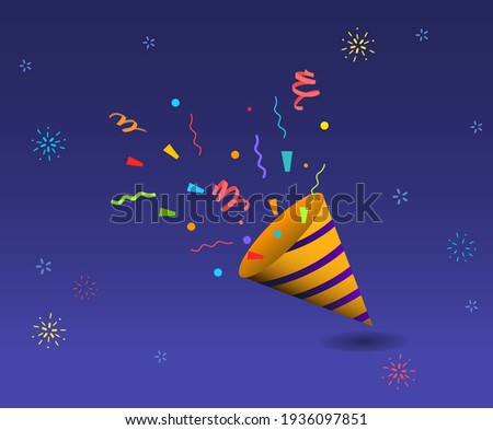 Happy and good things happen, and we celebrate them with fireworks and pollen illustration set. sky, party, luck, lotto, special. Vector drawing. Hand drawn style.