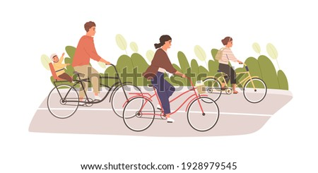 Happy and healthy family with kids cycling in summer. Parents with children riding bikes or bicycles together. Colored flat vector illustration of bonding outdoor activity isolated on white background Сток-фото ©