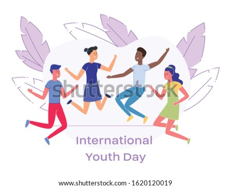 Happy and Positive Teens Schoolfellows Caucasian, Asian, African Friends Smiling Jumping and Waving Hands to Celebrate International Youth Day Modern Flat Vector Illustration Banner or Poster