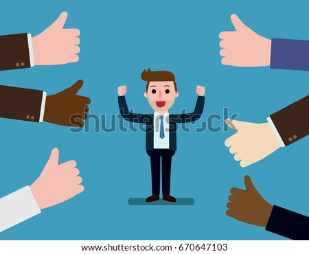 Happy and proud businessman with many thumbs up hands around him. Concept Business compliment. Vector flat cartoon character icon design. illustration isolated on backgroud