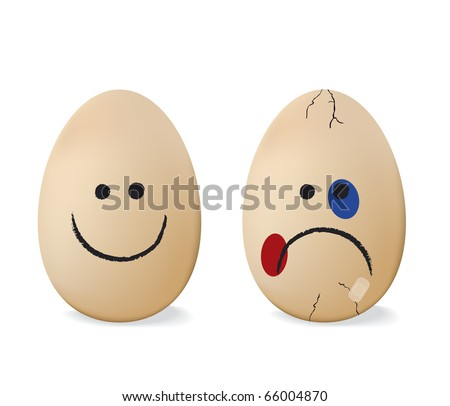 Happy and sad egg.