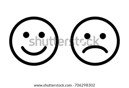 Happy and sad emoji faces line art vector icon for apps and websites