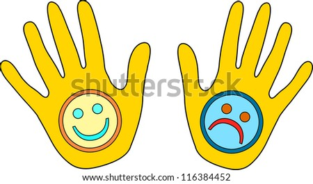 happy and sad hands illustration - stock vector