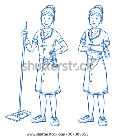 Happy and sad young female cleaner in two emotions. Hand drawn cartoon doodle vector illustration.